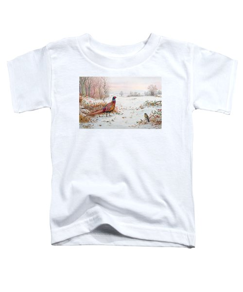 Pheasant And Bramblefinch In The Snow Toddler T-Shirt by Carl Donner