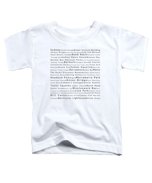 Sydney In Words White Toddler T-Shirt by Sabine Jacobs