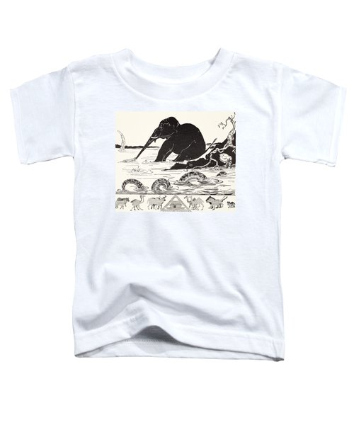 The Elephant's Child Having His Nose Pulled By The Crocodile Toddler T-Shirt by Joseph Rudyard Kipling