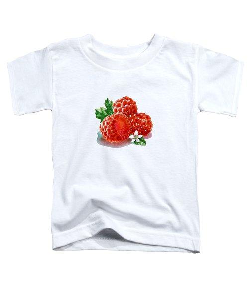 Three Happy Raspberries Toddler T-Shirt by Irina Sztukowski