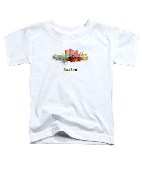Boston Skyline In Watercolor Toddler T-Shirt by Pablo Romero