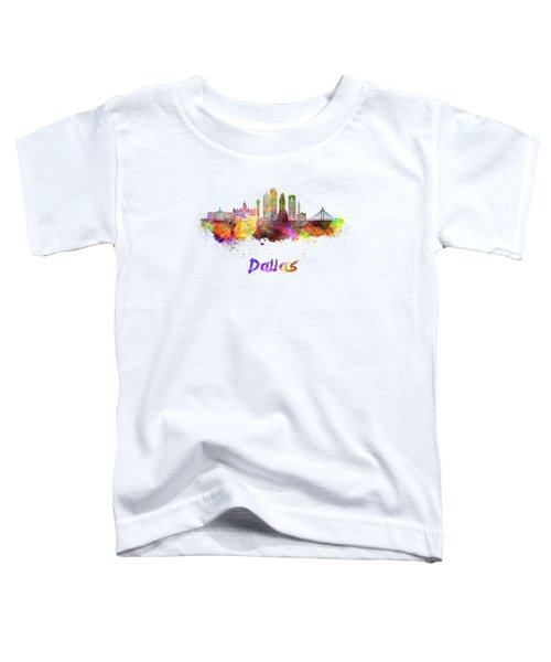 Dallas Skyline In Watercolor Toddler T-Shirt by Pablo Romero