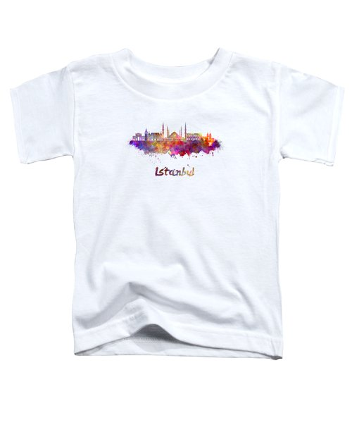 Istanbul Skyline In Watercolor Toddler T-Shirt by Pablo Romero