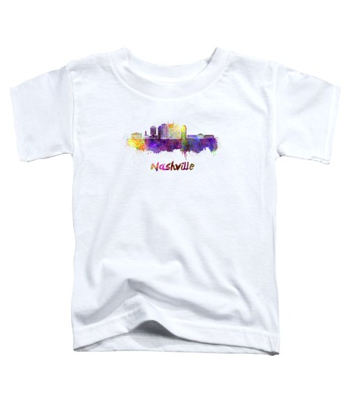 Nashville Skyline In Watercolor Toddler T-Shirt by Pablo Romero