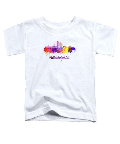 Philadelphia Skyline In Watercolor Toddler T-Shirt by Pablo Romero