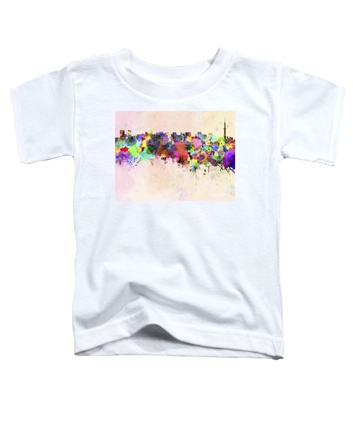 Tokyo Skyline In Watercolor Background Toddler T-Shirt by Pablo Romero