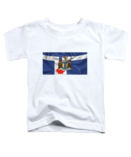 Toronto - Coat Of Arms Over City Of Toronto Flag  Toddler T-Shirt by Serge Averbukh