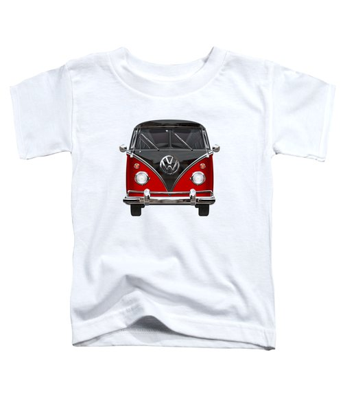 Volkswagen Type 2 - Red And Black Volkswagen T 1 Samba Bus On White  Toddler T-Shirt by Serge Averbukh