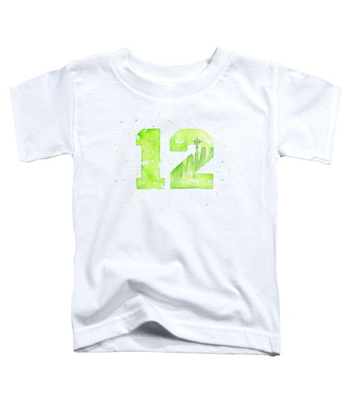 12th Man Seahawks Art Go Hawks Toddler T-Shirt by Olga Shvartsur