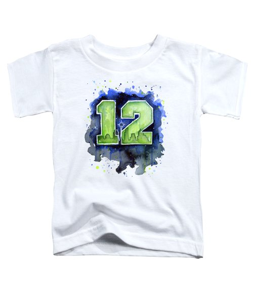 12th Man Seahawks Art Seattle Go Hawks Toddler T-Shirt by Olga Shvartsur