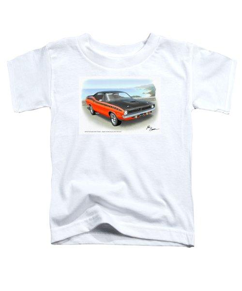 1970 Barracuda Aar  Cuda Classic Muscle Car Toddler T-Shirt by John Samsen