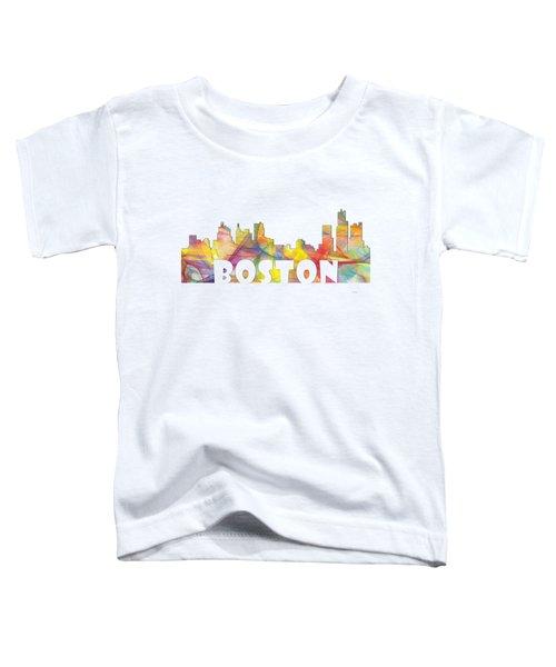 Boston Massachusetts Skyline Toddler T-Shirt by Marlene Watson