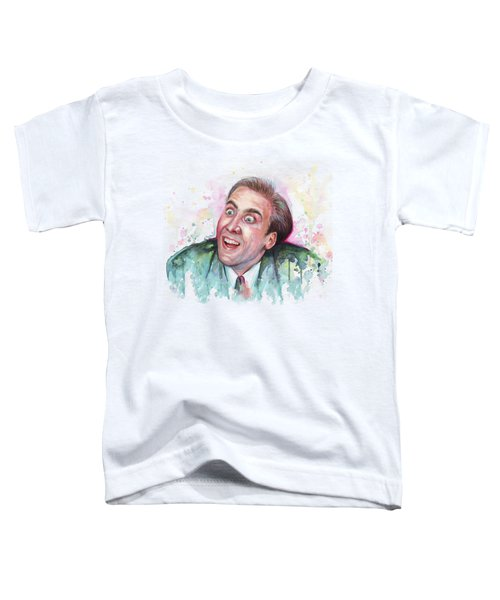 Nicolas Cage You Don't Say Watercolor Portrait Toddler T-Shirt by Olga Shvartsur