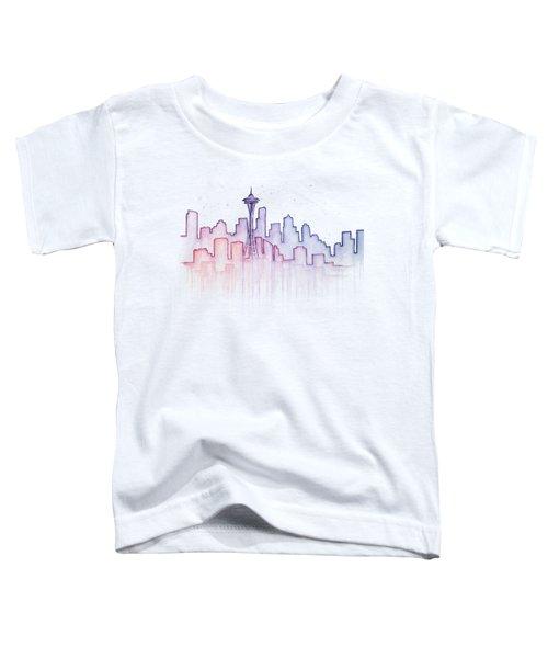 Seattle Skyline Watercolor Toddler T-Shirt by Olga Shvartsur