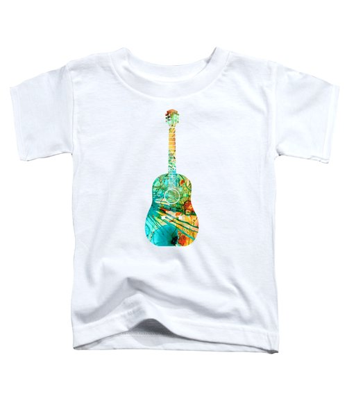 Acoustic Guitar 2 - Colorful Abstract Musical Instrument Toddler T-Shirt by Sharon Cummings