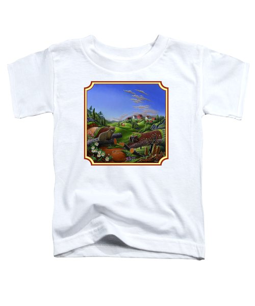 Americana Decor - Springtime On The Farm Country Life Landscape - Square Format Toddler T-Shirt by Walt Curlee