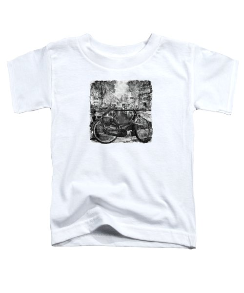 Amsterdam Bicycle Black And White Toddler T-Shirt by Marian Voicu