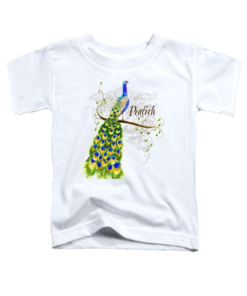 Art Nouveau Peacock W Swirl Tree Branch And Scrolls Toddler T-Shirt by Audrey Jeanne Roberts