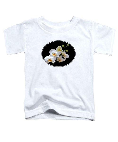 White Orchids On Ocean Blue Toddler T-Shirt by Gill Billington