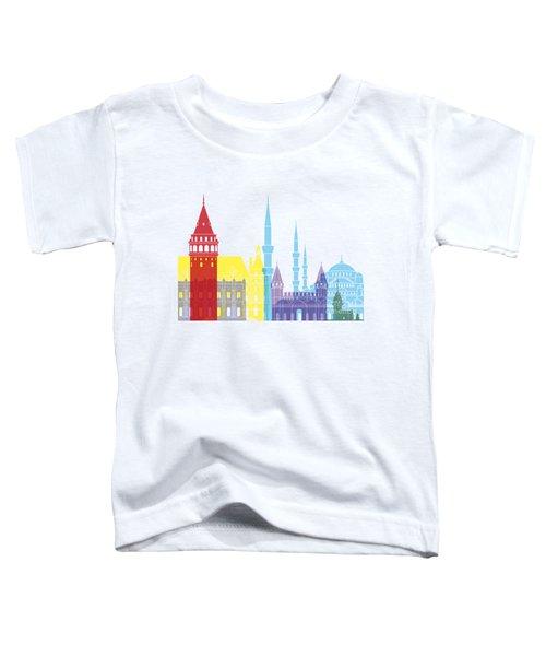 Istanbul Skyline Pop Toddler T-Shirt by Pablo Romero