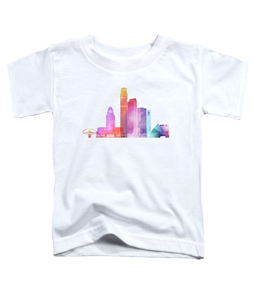 Los Angeles Landmarks Watercolor Poster Toddler T-Shirt by Pablo Romero
