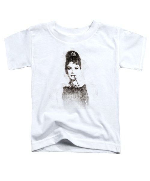 Audrey Hepburn Portrait 01 Toddler T-Shirt by Pablo Romero