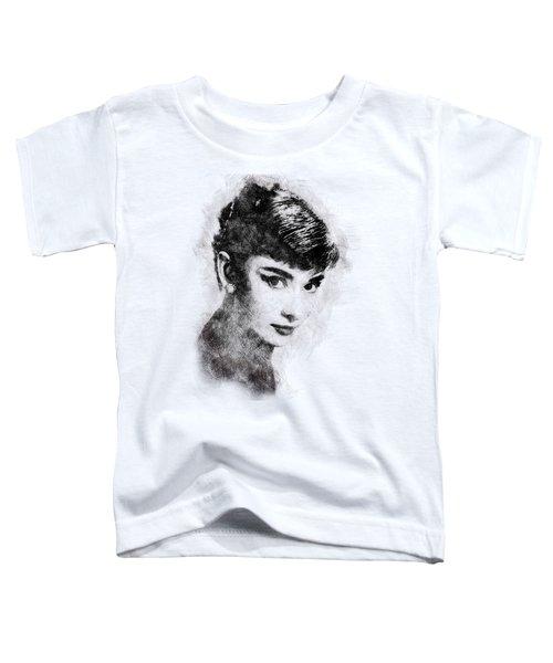 Audrey Hepburn Portrait 03 Toddler T-Shirt by Pablo Romero