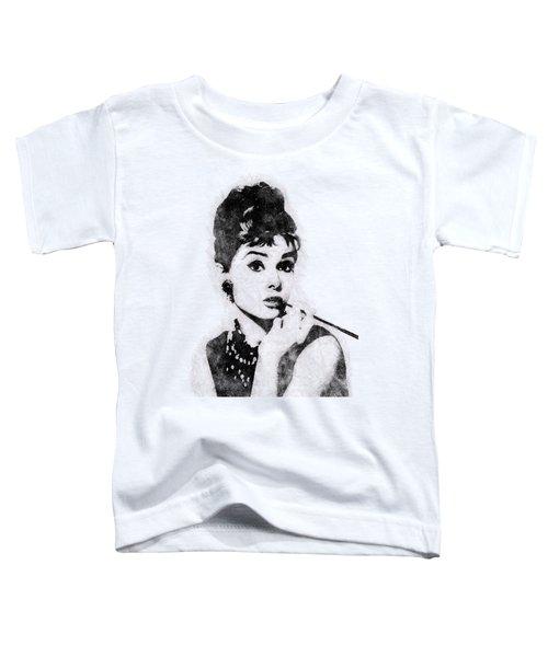 Audrey Hepburn Portrait 04 Toddler T-Shirt by Pablo Romero