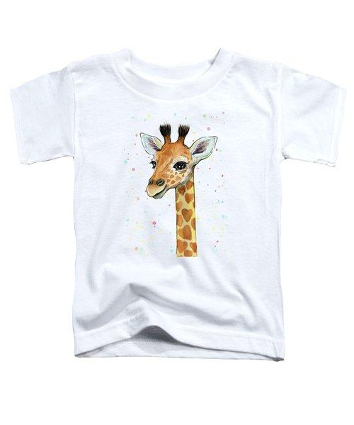 Baby Giraffe Watercolor With Heart Shaped Spots Toddler T-Shirt by Olga Shvartsur
