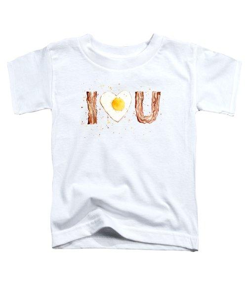 Bacon And Egg I Heart You Watercolor Toddler T-Shirt by Olga Shvartsur