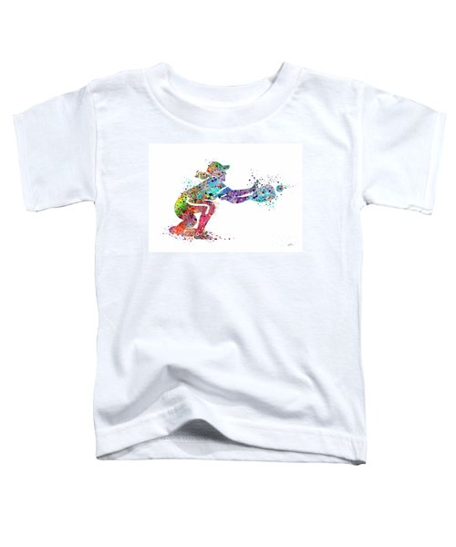 Baseball Softball Catcher 2 Sports Art Print Toddler T-Shirt by Svetla Tancheva