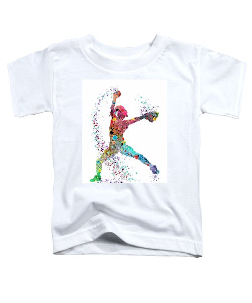 Baseball Softball Pitcher Watercolor Print Toddler T-Shirt by Svetla Tancheva