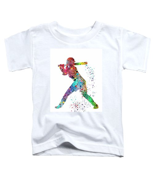 Baseball Softball Player Toddler T-Shirt by Svetla Tancheva