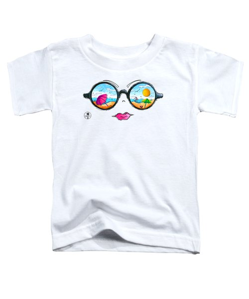 Beach Day Sunglass Design From The Sunnie Tees 2016 Collection Toddler T-Shirt by Megan Duncanson