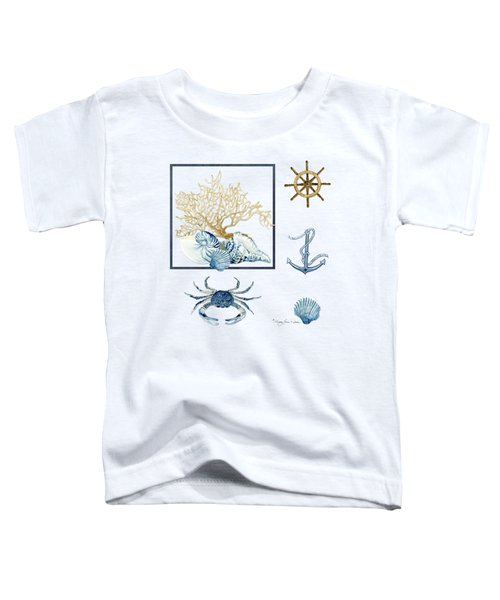 Beach House Nautical Seashells Ships Wheel Anchor N Crab Toddler T-Shirt by Audrey Jeanne Roberts
