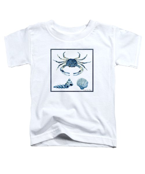 Beach House Sea Life Crab Turban Shell N Scallop Toddler T-Shirt by Audrey Jeanne Roberts