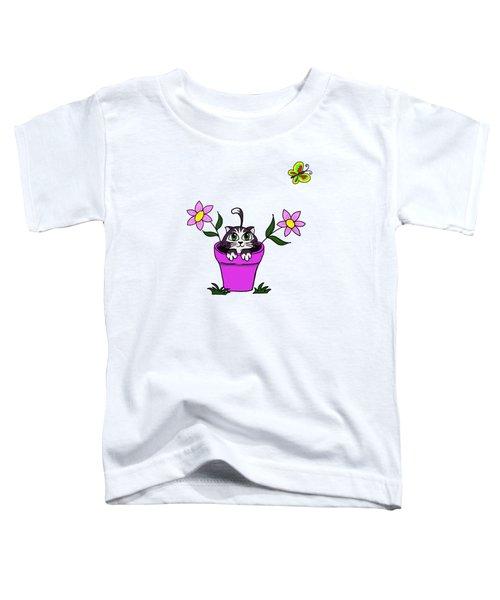 Big Eyed Kitten In Flower Pot Toddler T-Shirt by Lorraine Kelly