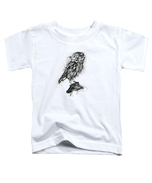 Black And White Owl Toddler T-Shirt by Marian Voicu
