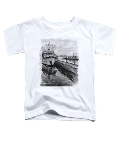 Boat On Waterfront Marina Kirkland Washington Toddler T-Shirt by Olga Shvartsur