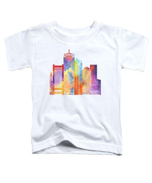 Boston Landmarks Watercolor Poster Toddler T-Shirt by Pablo Romero