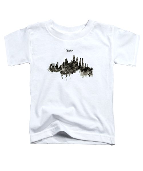Boston Skyline Black And White Toddler T-Shirt by Marian Voicu