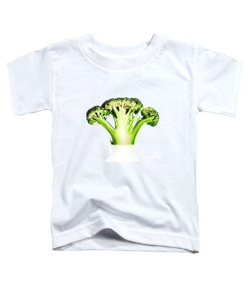 Broccoli Cutaway On White Toddler T-Shirt by Johan Swanepoel