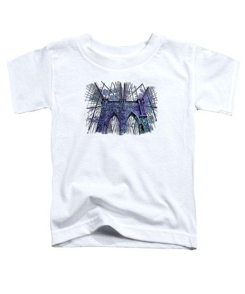 Brooklyn Bridge Berry Blues 3 Dimensional Toddler T-Shirt by Di Designs