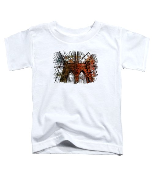 Brooklyn Bridge Earthy Rainbow 3 Dimensional Toddler T-Shirt by Di Designs