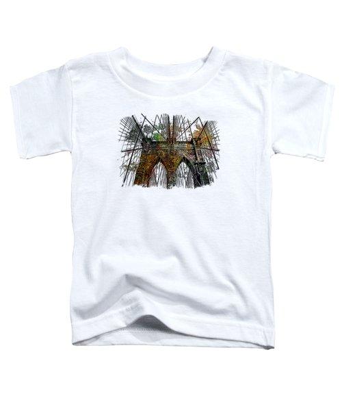Brooklyn Bridge Muted Rainbow 3 Dimensional Toddler T-Shirt by Di Designs