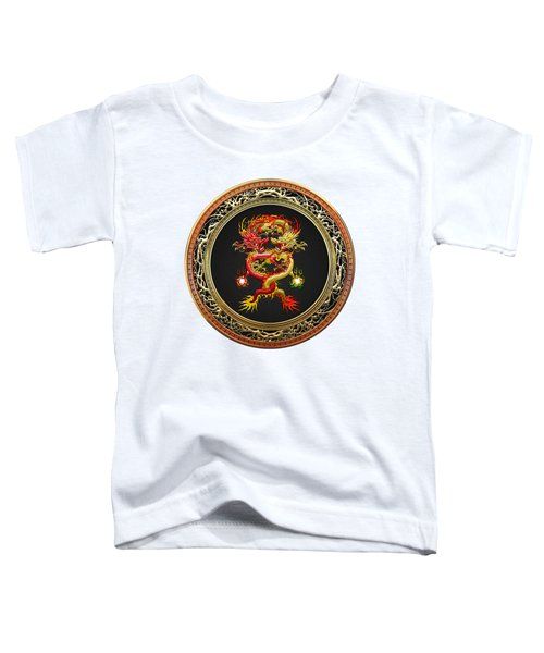 Brotherhood Of The Snake - The Red And The Yellow Dragons On White Leather Toddler T-Shirt by Serge Averbukh