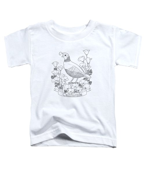 California State Bird And Flower Coloring Page Toddler T-Shirt by Crista Forest
