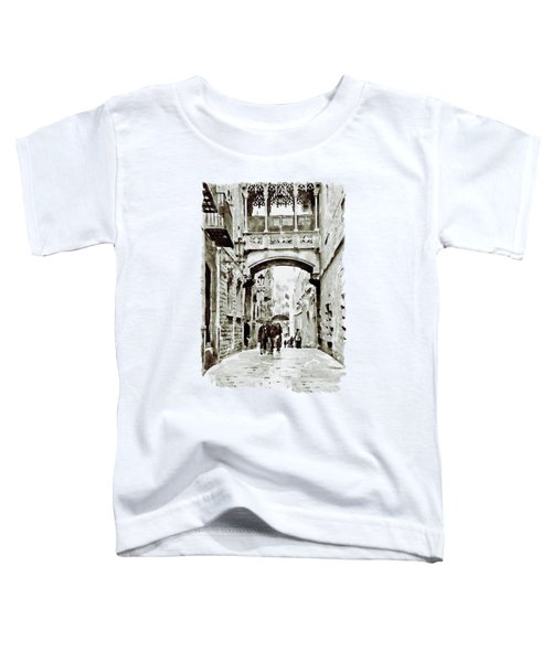 Carrer Del Bisbe - Barcelona Black And White Toddler T-Shirt by Marian Voicu