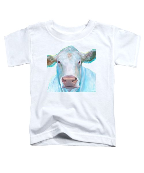 Charolais Cow Painting On White Background Toddler T-Shirt by Jan Matson