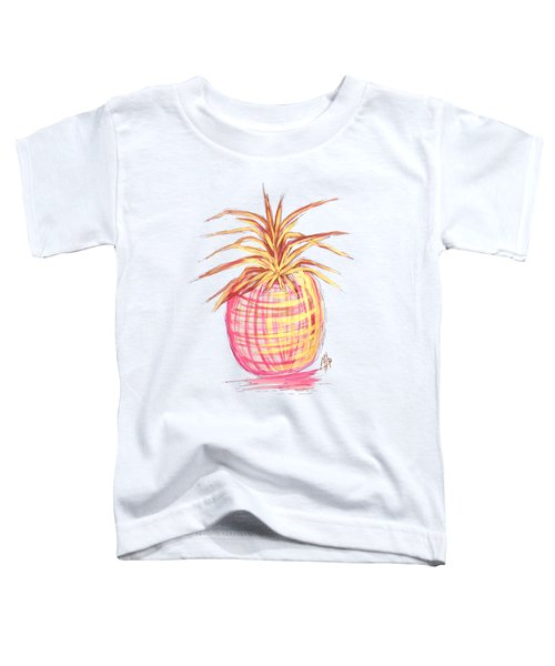 Chic Pink Metallic Gold Pineapple Fruit Wall Art Aroon Melane 2015 Collection By Madart Toddler T-Shirt by Megan Duncanson
